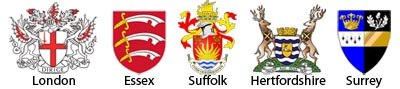 County arms of London, Essex, Suffolk, Hertfordshire and Aurrey.