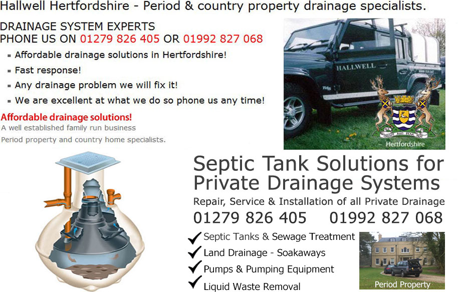 Hertfordshire Map septic tank Drains Drain and drainage